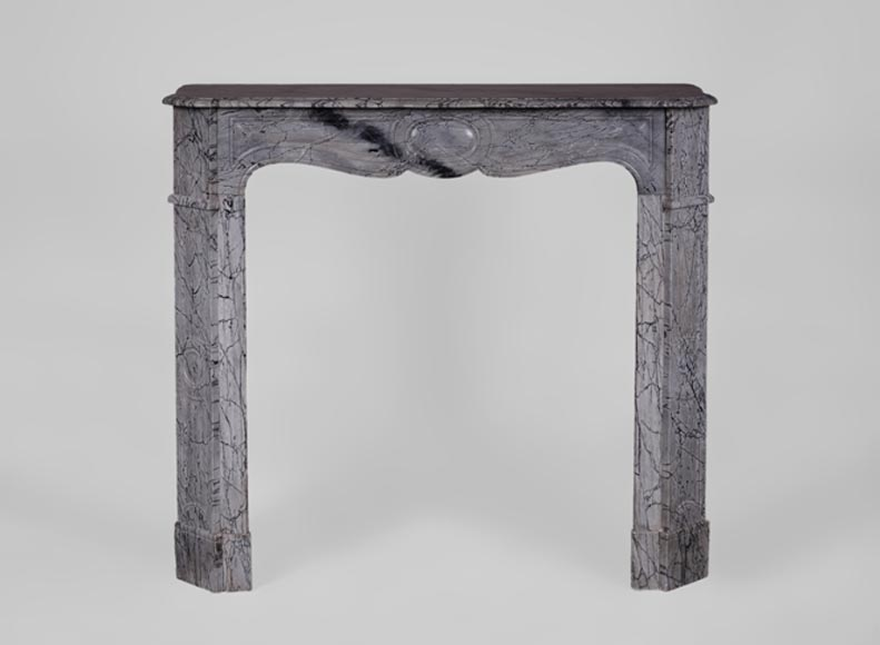 Antique Louis XV style fireplace, Pompadour model, in Bleu Fleuri marble - Reference 3552