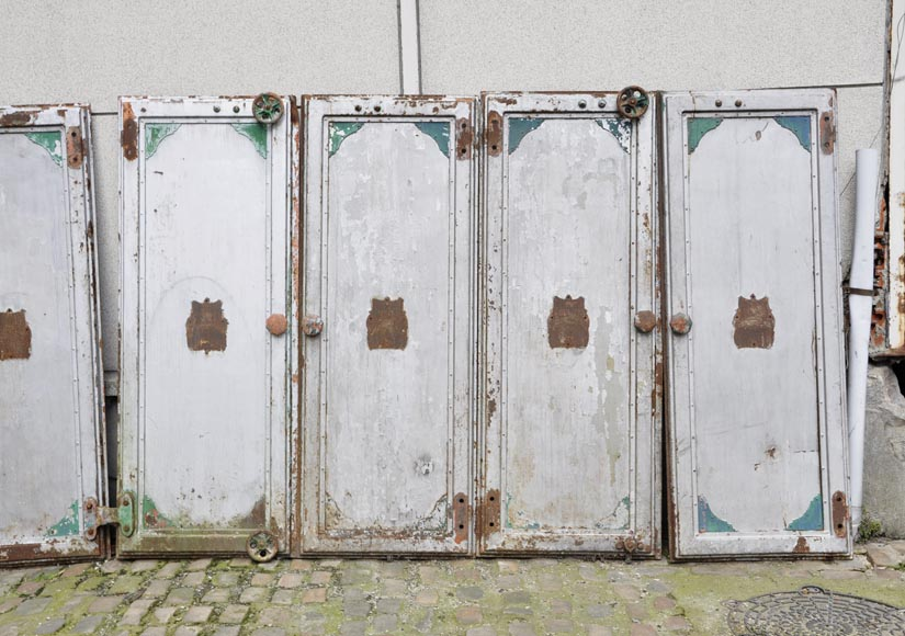 Antique set of eight industrial boiler room doors -1