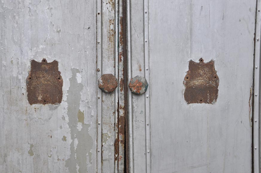 Antique set of eight industrial boiler room doors -3