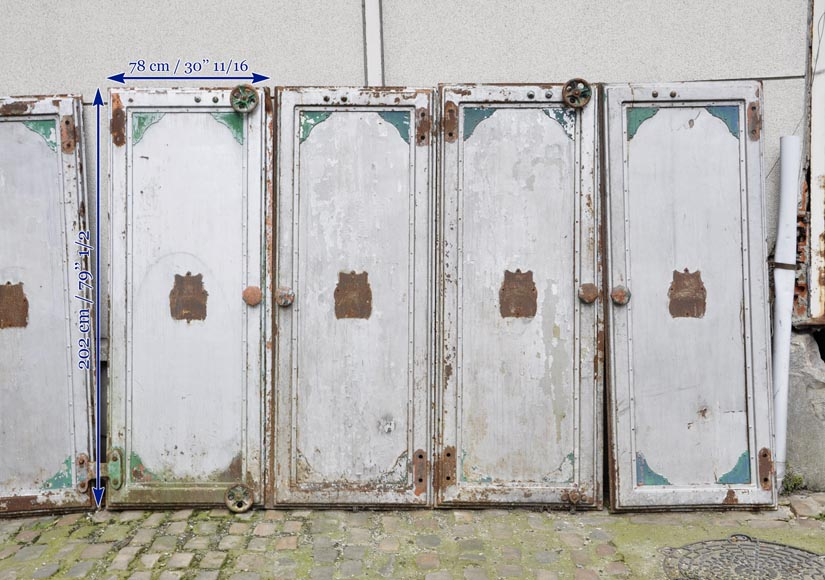 Antique set of eight industrial boiler room doors -10
