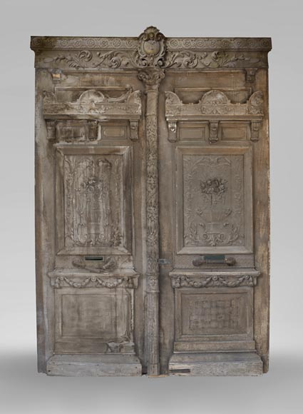 Big Napoleon III style double door made of carved wood - Reference 3564