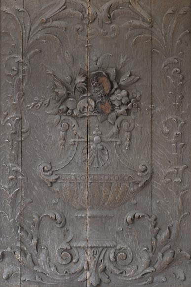 Big Napoleon III style double door made of carved wood-2