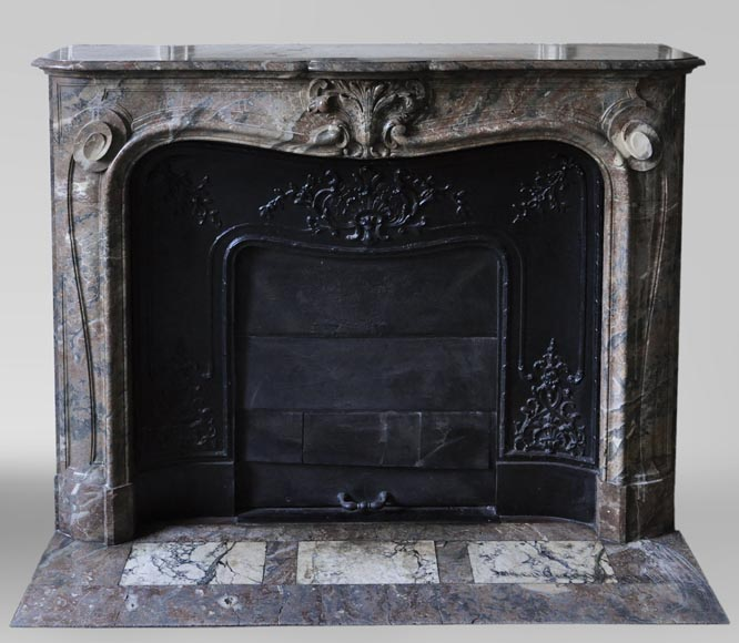 Antique Louis XV style fireplace in Red from the North marble with shell-0