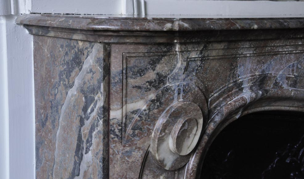 Antique Louis XV style fireplace in Red from the North marble with shell-3