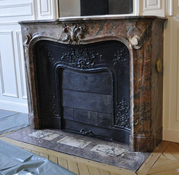 Antique Louis XV style fireplace in Red from the North marble with shell-5