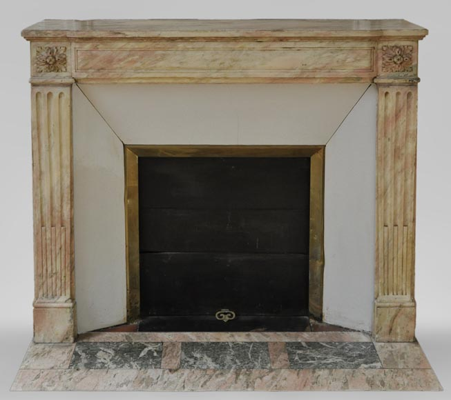 Antique Louis XVI style fireplace in pink marble with its marble floor and its enameled insert  - Reference 3567