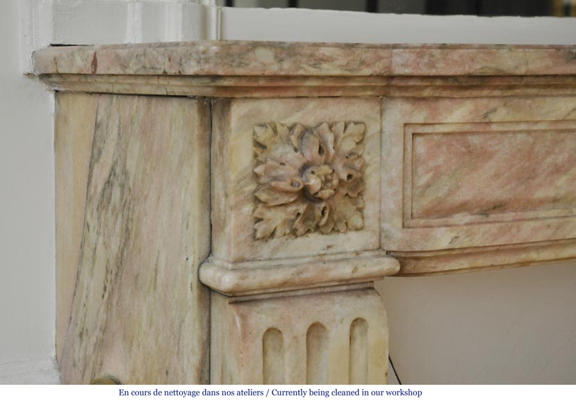 Antique Louis XVI style fireplace in pink marble with its marble floor and its enameled insert -3
