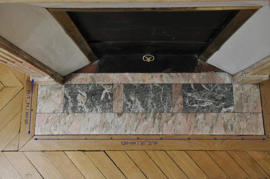 Antique Louis XVI style fireplace in pink marble with its marble floor and its enameled insert -7