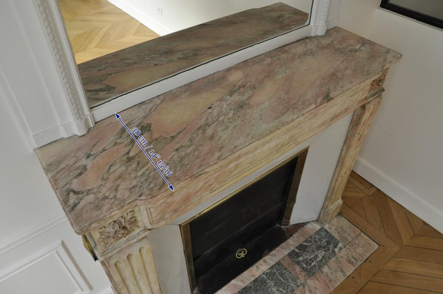 Antique Louis XVI style fireplace in pink marble with its marble floor and its enameled insert -8