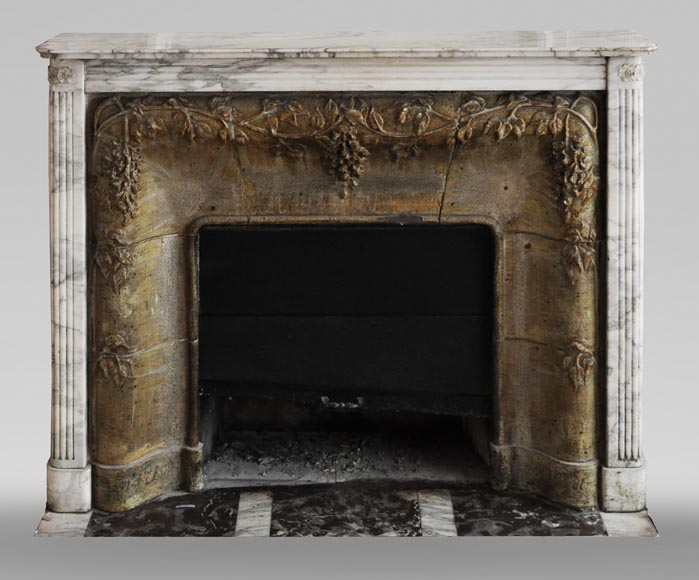 Auguste PERRET (1874-1954) - Antique Art Nouveau style fireplace in sandstone and Arabescato marble-0