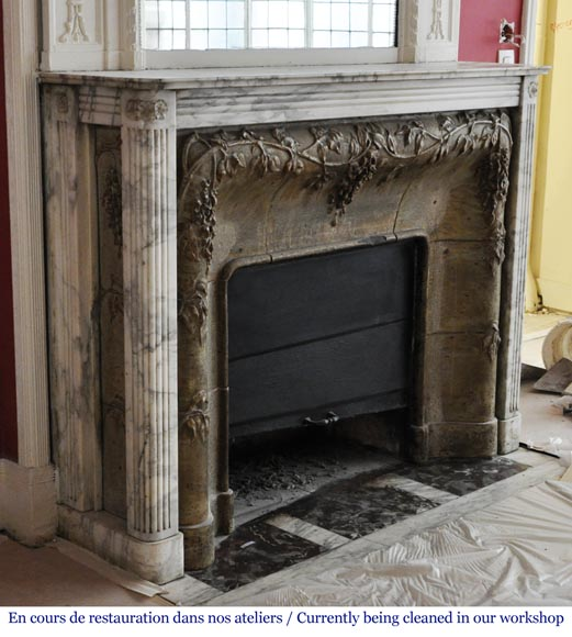 Auguste PERRET (1874-1954) - Antique Art Nouveau style fireplace in sandstone and Arabescato marble-2