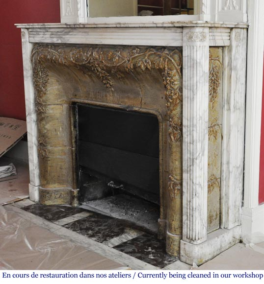 Auguste PERRET (1874-1954) - Antique Art Nouveau style fireplace in sandstone and Arabescato marble-4