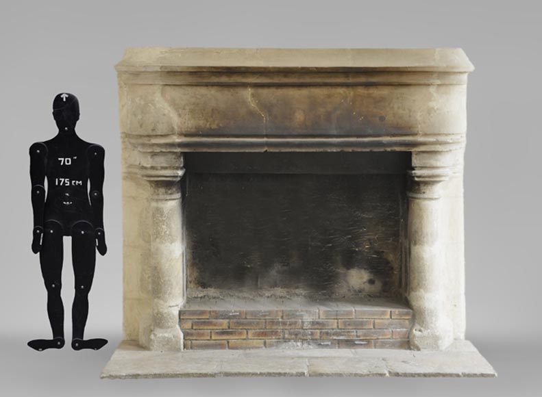 Antique monumental stone fireplace, 17th century-0