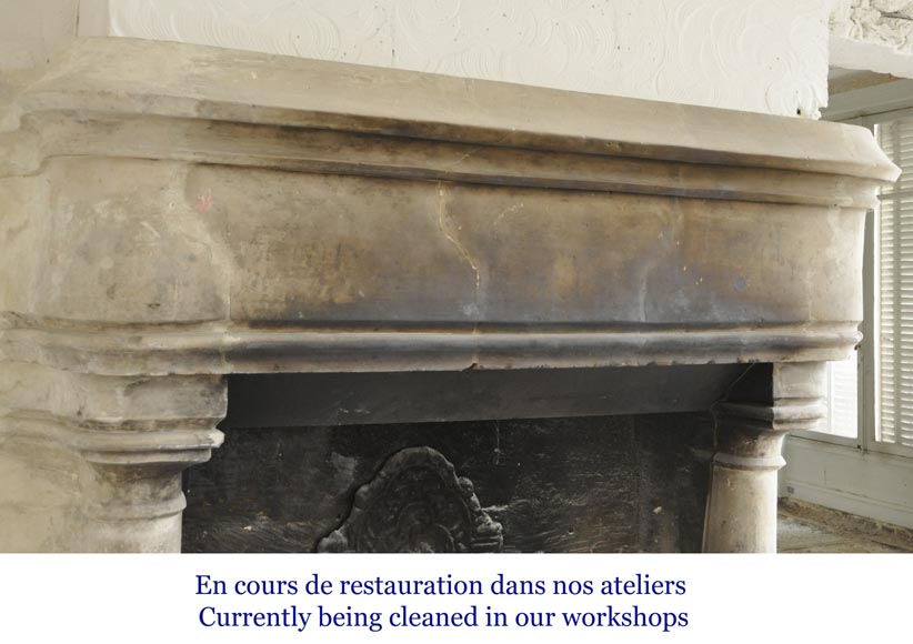 Antique monumental stone fireplace, 17th century-2