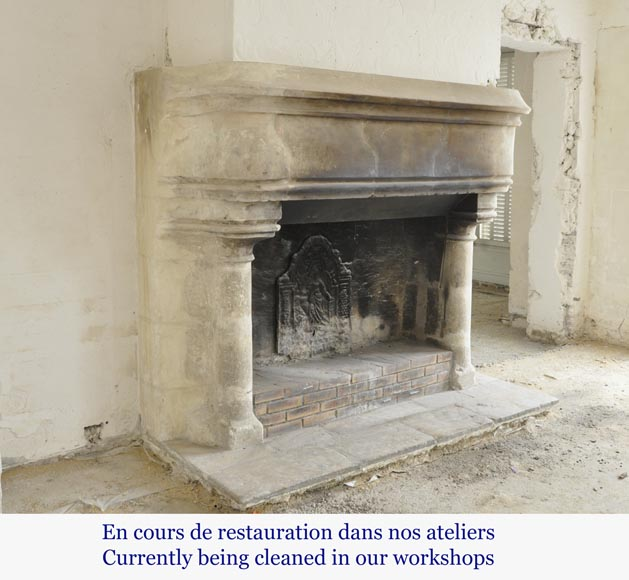 Antique monumental stone fireplace, 17th century-3