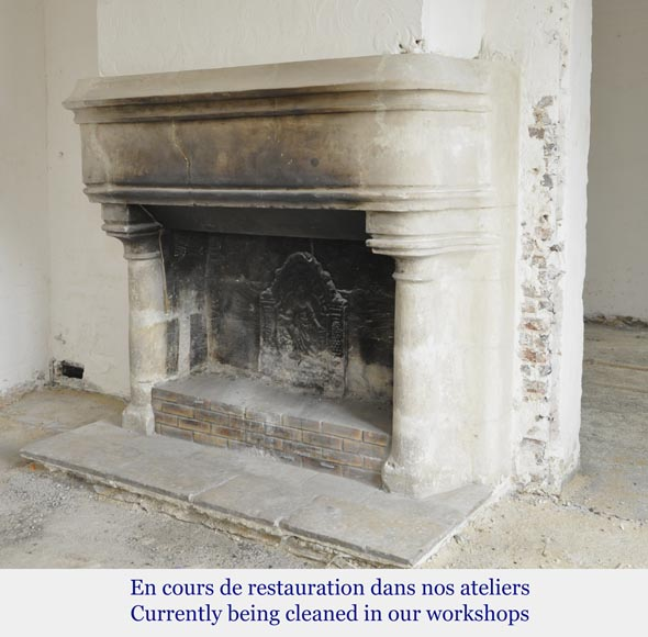 Antique monumental stone fireplace, 17th century-8