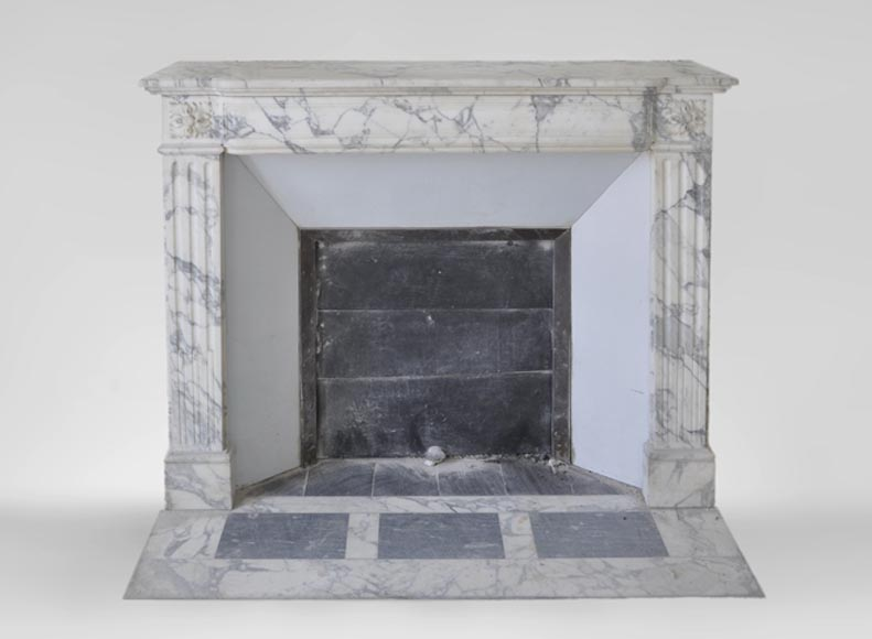 Antique Louis XVI style fireplace in Arabescato marble with flutings-0