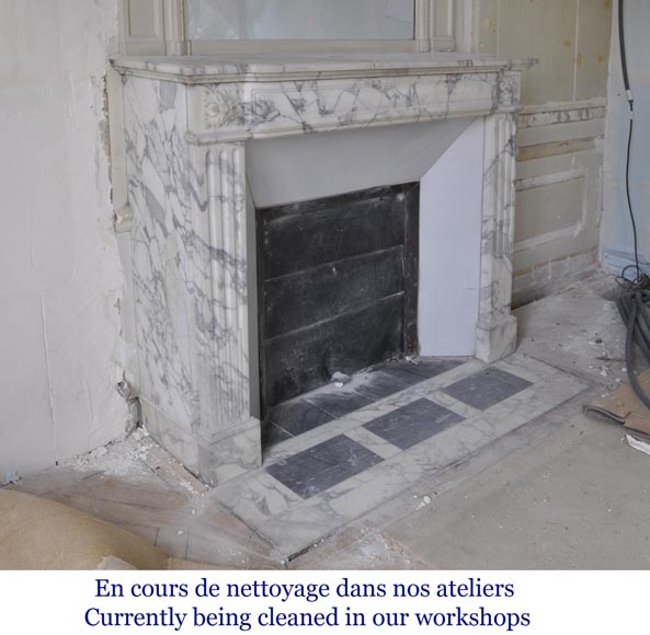 Antique Louis XVI style fireplace in Arabescato marble with flutings-2