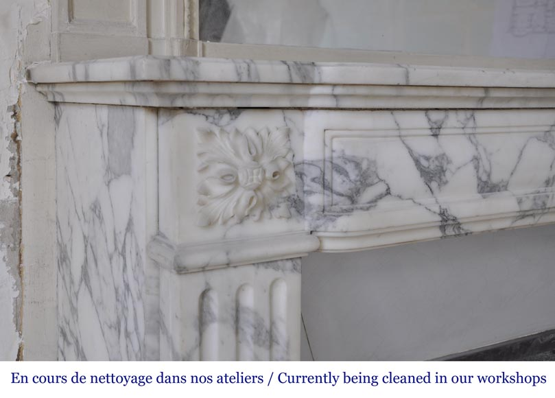 Antique Louis XVI style fireplace in Arabescato marble with flutings-3