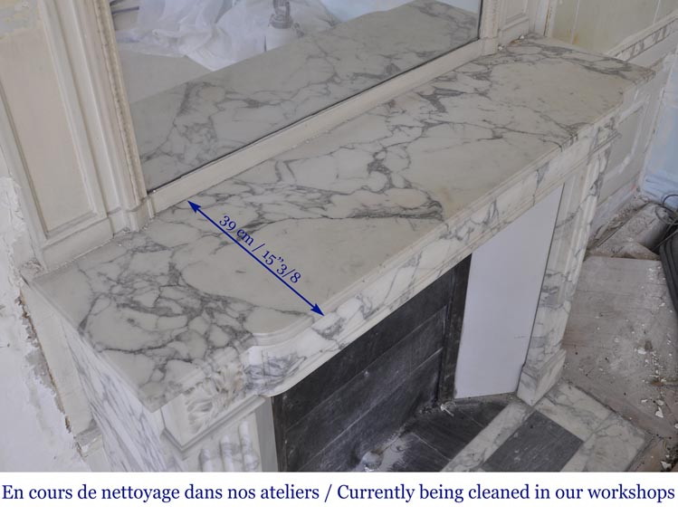 Antique Louis XVI style fireplace in Arabescato marble with flutings-9