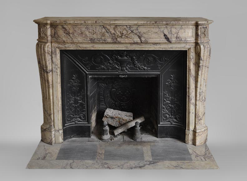 Beautiful antique Louis XVI style fireplace in veined marble - Reference 3577