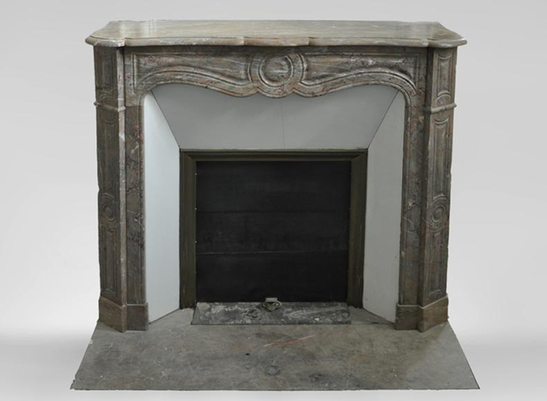 Antique Louis XV style fireplace, Pompadour model, in Enjugerais marble - Reference 3584
