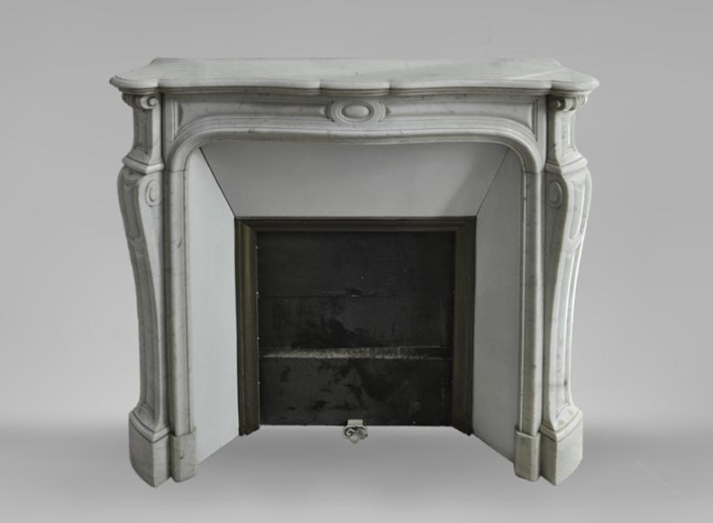 Antique Louis XV style fireplace, Pompadour model, in Carrara marble - Reference 3585