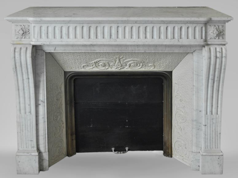 Antique Louis XVI style fireplace in Carrara marble with flutings-0