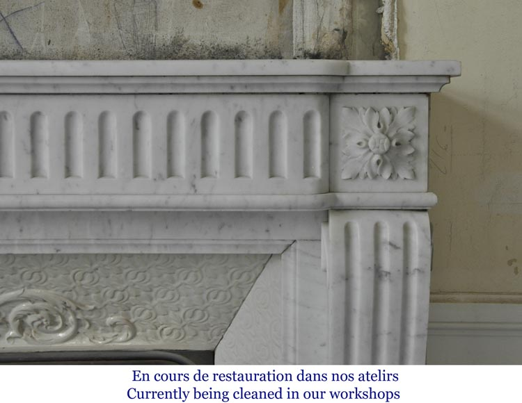 Antique Louis XVI style fireplace in Carrara marble with flutings-6