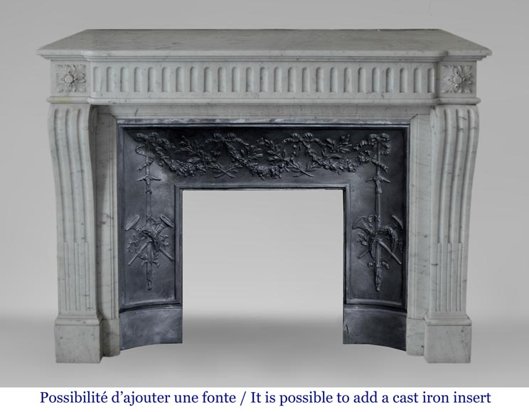 Antique Louis XVI style fireplace in Carrara marble with flutings-10