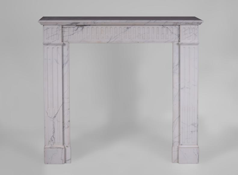 Antique Louis XVI style fireplace in Carrara marble with grooves - Reference 3591
