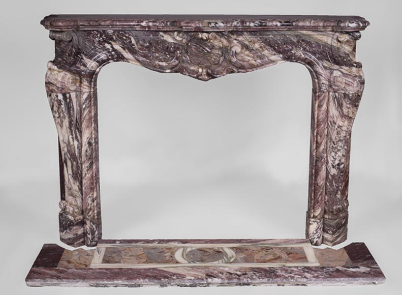 Exceptional antique Louis XV style fireplace in Fleur de Pêcher marble with large palmette-0
