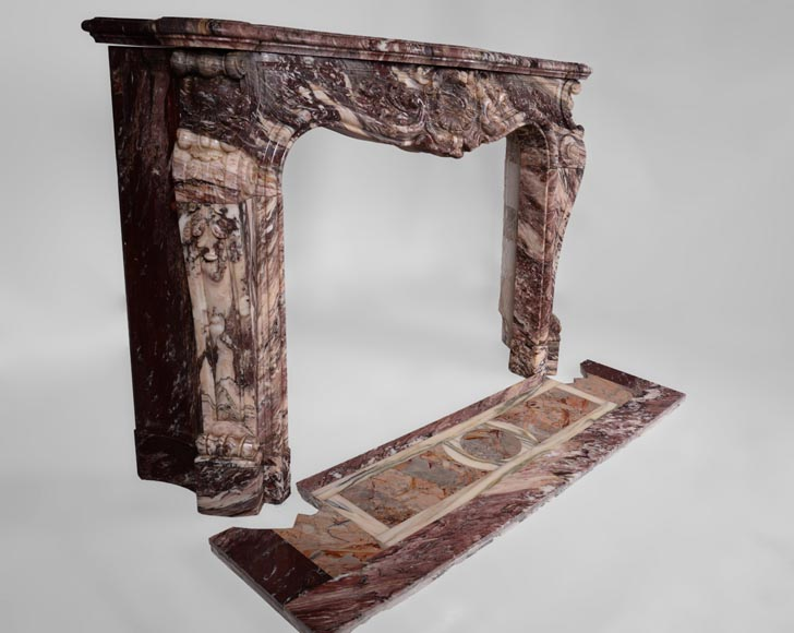 Exceptional antique Louis XV style fireplace in Fleur de Pêcher marble with large palmette-4