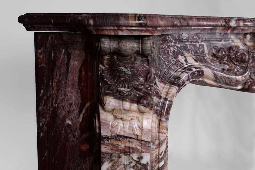 Exceptional antique Louis XV style fireplace in Fleur de Pêcher marble with large palmette-5