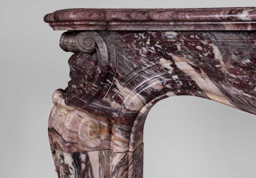 Exceptional antique Louis XV style fireplace in Fleur de Pêcher marble with large palmette-6
