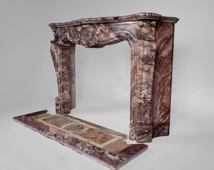 Exceptional antique Louis XV style fireplace in Fleur de Pêcher marble with large palmette-8