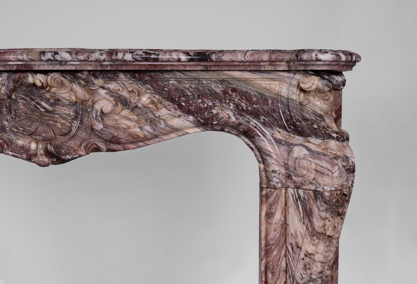 Exceptional antique Louis XV style fireplace in Fleur de Pêcher marble with large palmette-9