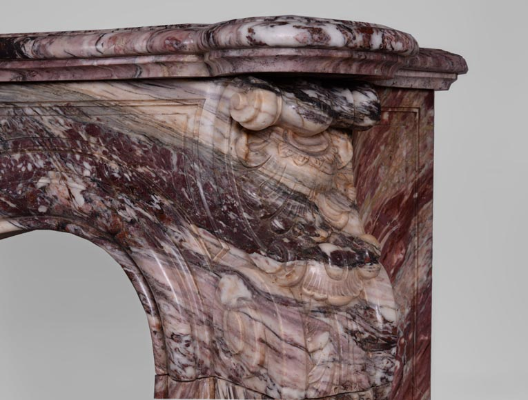 Exceptional antique Louis XV style fireplace in Fleur de Pêcher marble with large palmette-10