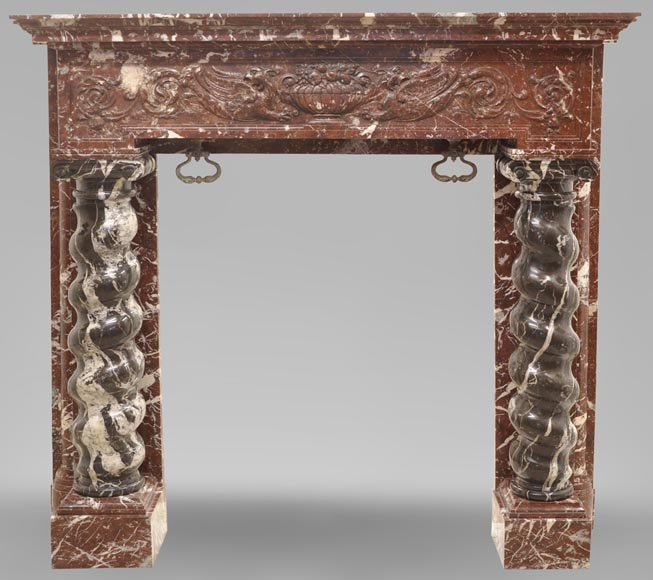 Antique Napoleon III style fireplace with salomonic columns made of Red Marble and Black Marquina Marble-0
