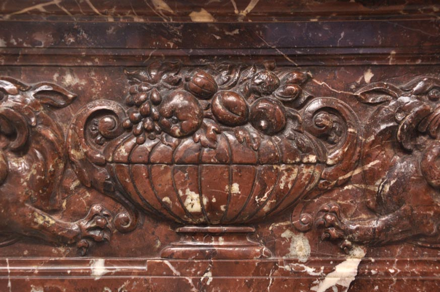 Antique Napoleon III style fireplace with salomonic columns made of Red Marble and Black Marquina Marble-2