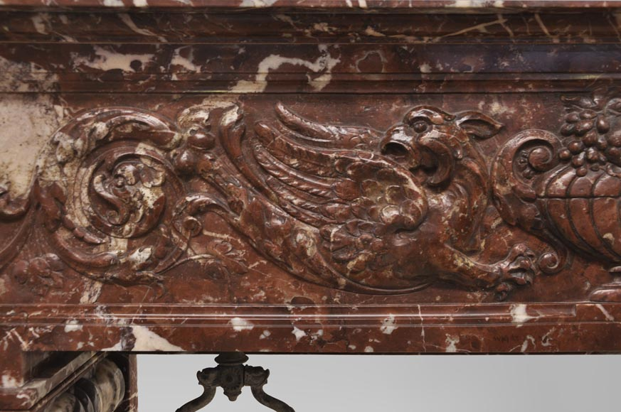 Antique Napoleon III style fireplace with salomonic columns made of Red Marble and Black Marquina Marble-3