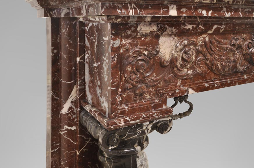 Antique Napoleon III style fireplace with salomonic columns made of Red Marble and Black Marquina Marble-5