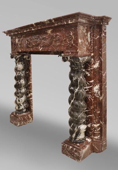 Antique Napoleon III style fireplace with salomonic columns made of Red Marble and Black Marquina Marble-8