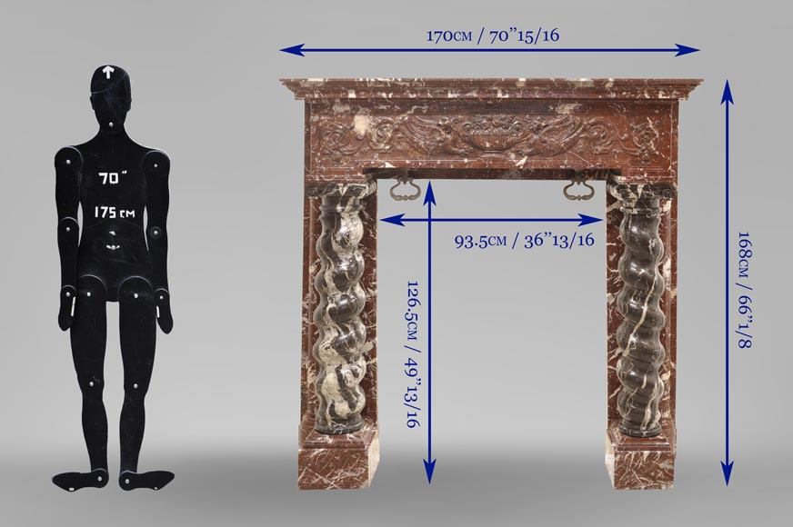 Antique Napoleon III style fireplace with salomonic columns made of Red Marble and Black Marquina Marble-12
