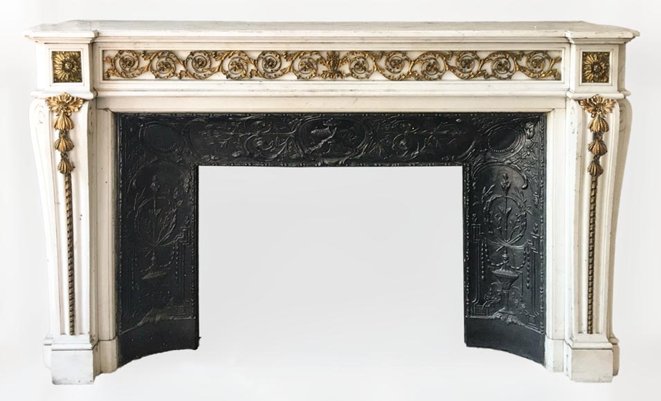 Beautiful Louis XVI style fireplace in white Carrara marble with bronze ornaments-0
