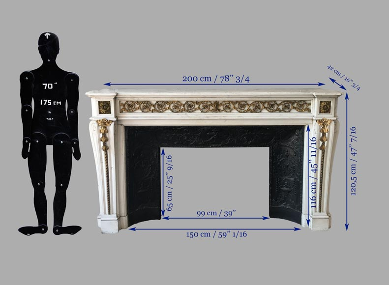 Beautiful Louis XVI style fireplace in white Carrara marble with bronze ornaments-1
