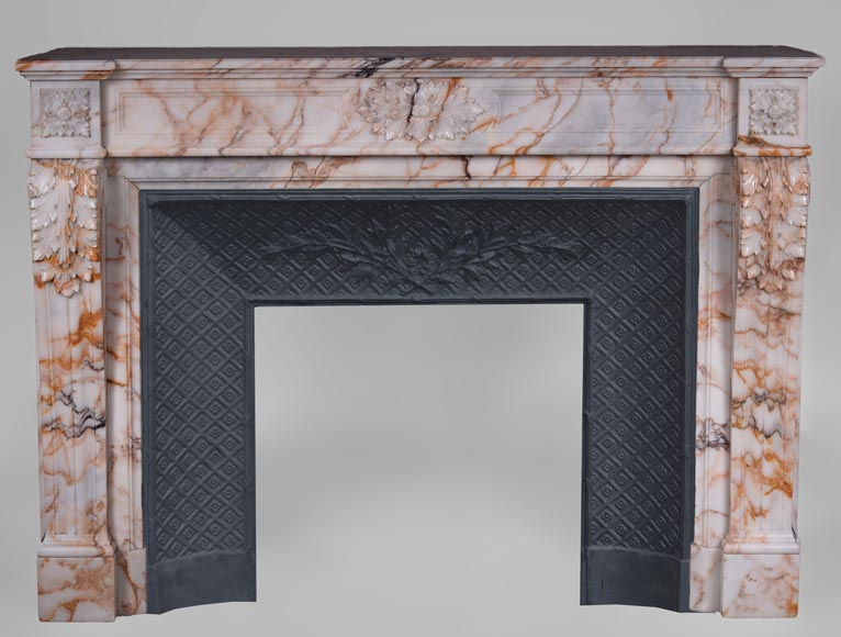 Beautiful antique Louis XVI style mantel in Orange veined marble in Skyros marble-0