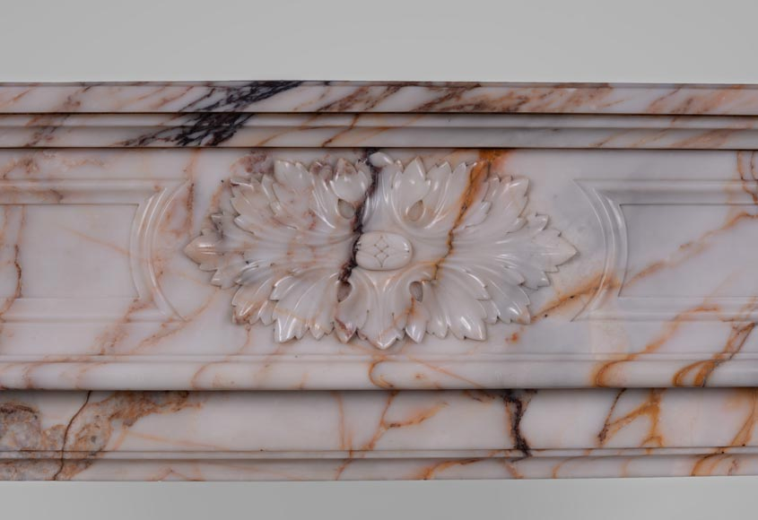Beautiful antique Louis XVI style mantel in Orange veined marble in Skyros marble-1