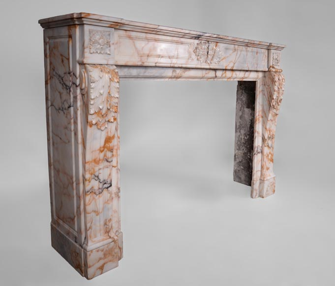 Beautiful antique Louis XVI style mantel in Orange veined marble in Skyros marble-2