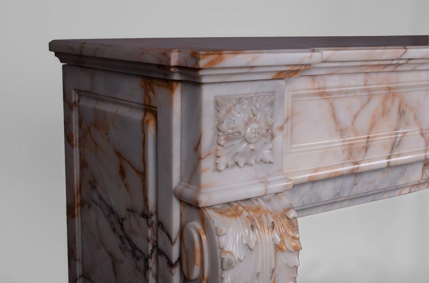 Beautiful antique Louis XVI style mantel in Orange veined marble in Skyros marble-3